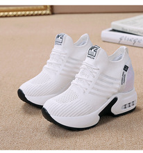 White and black Sneakers Women Sport Shoes Running Athletic Mesh Female wedges tourism increased Women Sneakers casual increased internal and lace up design athletic shoes for women