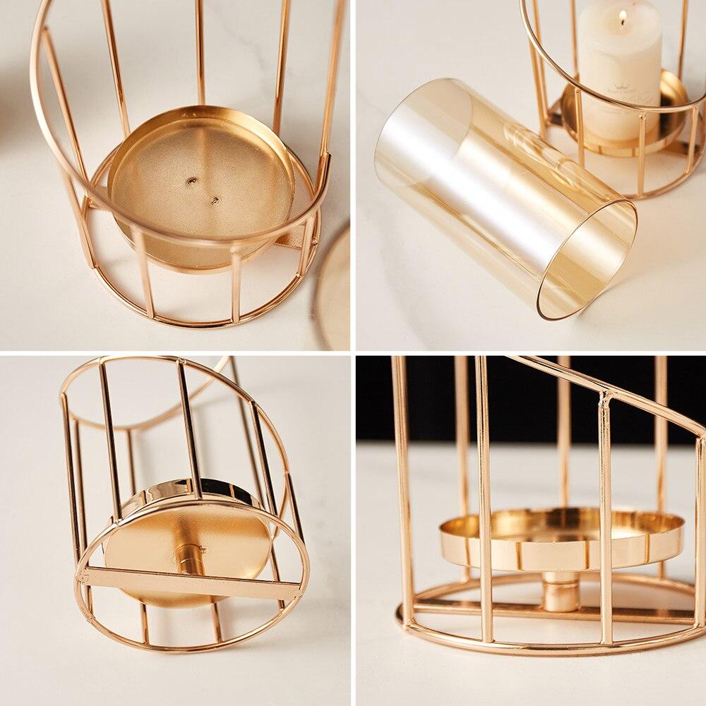 Golden Metal Candle Holder Multifunctional Glass Vase Glass Candle Holder  5