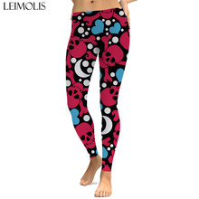 LEIMOLIS sexy gothic skull love dot black print push up leggings plus size women fitness workout punk high waist spandex leggins