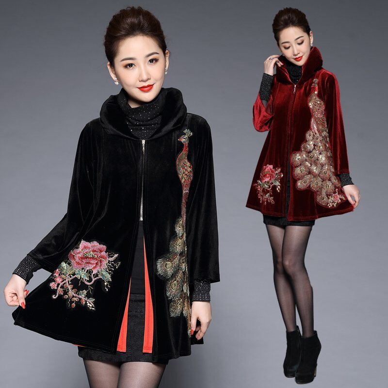 Trench-Coat Velvet Spring Embroidery Sequined Fall Loose Elegant Black Womens Long Peacock