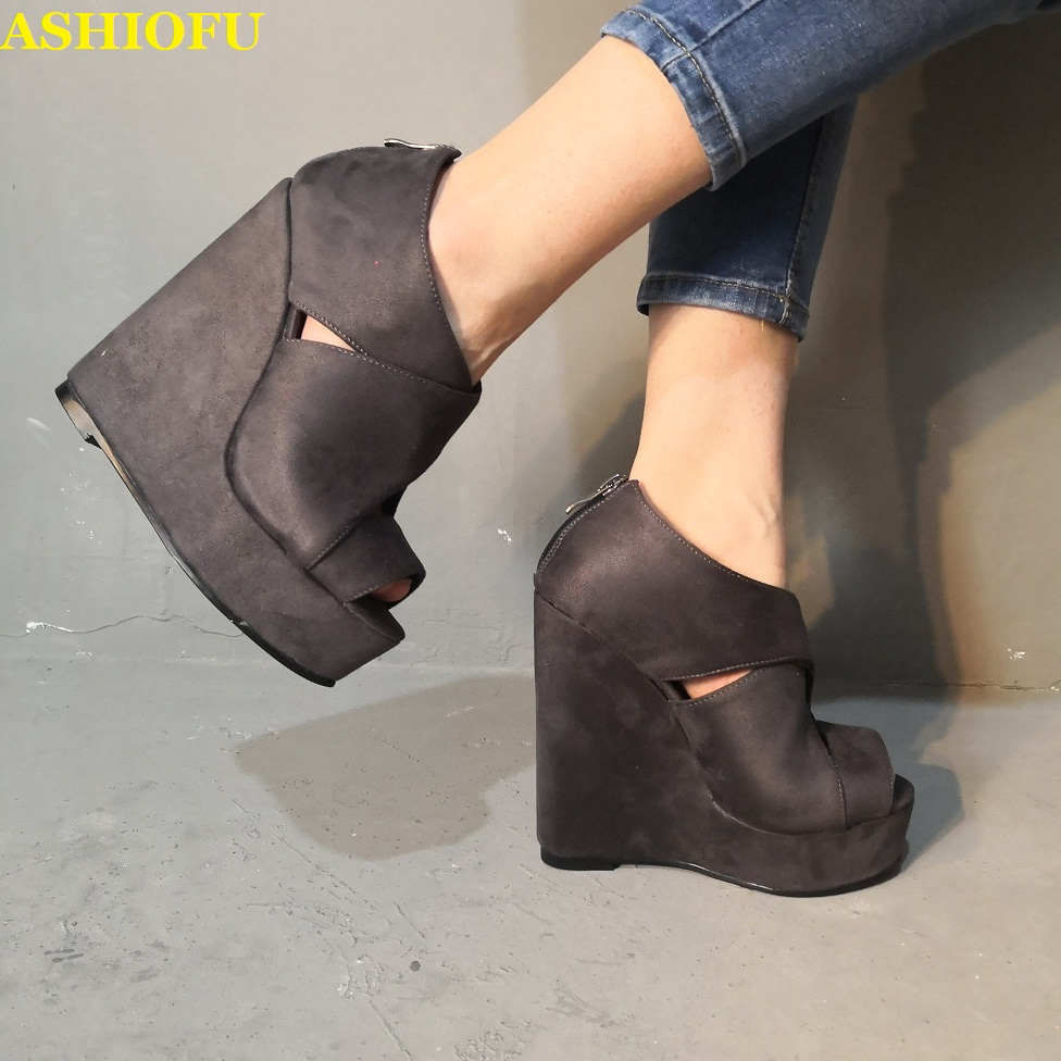 ASHIOFU Hot Style Handmade Women Wadge Heel Sandals Peep-toe Sexy Real Photos Party Shoes Big-size Evening Fashion Sandals Shoes