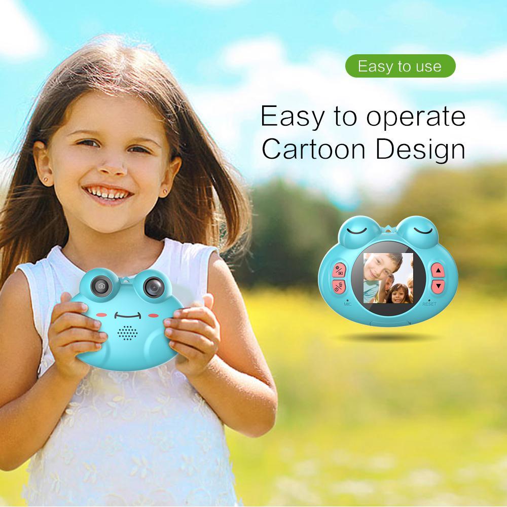 DSstyles mignon dessin animé grenouille en forme d'appareil photo numérique Portable Anti-secousse Rechargeable enfants caméra pour filles garçon