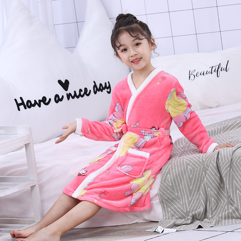 Детский халат в розницу! Детский мягкий бархатный халат с рисунком для мальчиков и девочек, 1 предмет, пижама Коралловая детская одежда для малышей