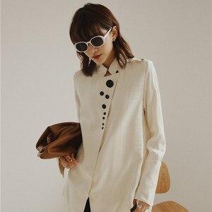 Image 3 - Cheerart designer topos blusa de cetim manga longa botão up gola camisa feminina moda senhoras blusa outono 2019
