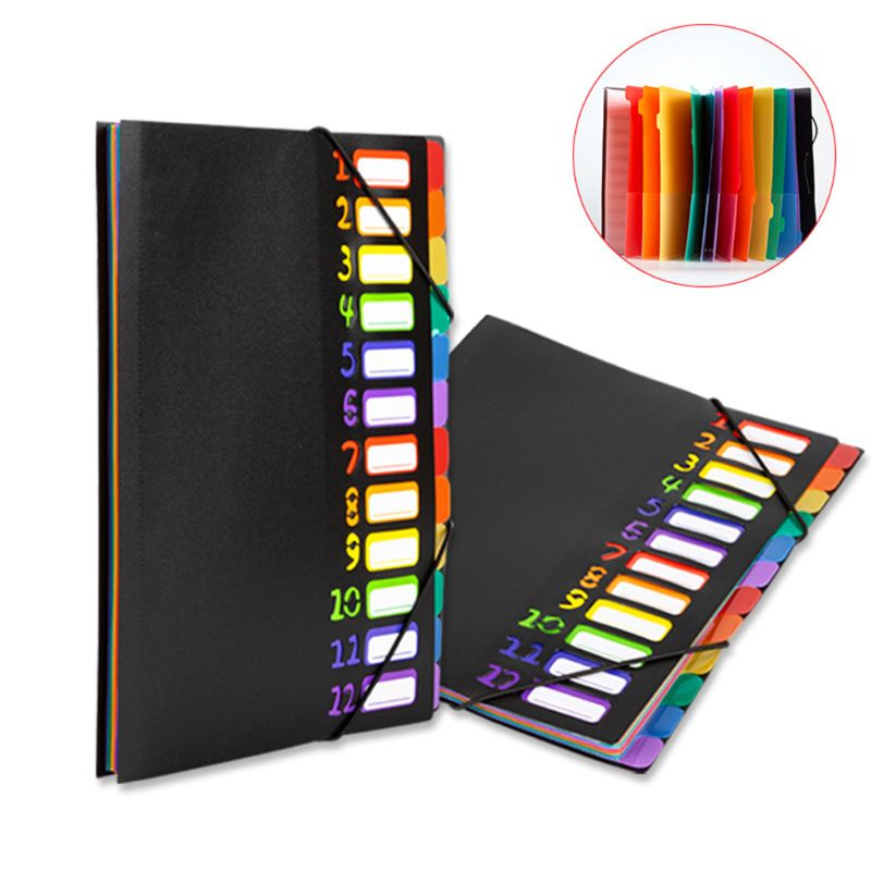 Rainbow Color Multi-Page Classification Folder Holder Storage Bag A4 File Sorter Helper School Office Supplies C26