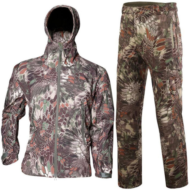 Sniper Camouflage Hunting Clothes Ghillie Suit Outdoors Camping Hiking Waterproof Windbreaker Softshell Fleece Jacket + Pants 6