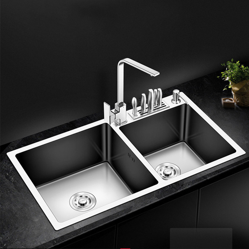 304 Kitchen Stainless Steel Sink Knife Rest Multi-Kinetic Energy Handmade Double Basin Wash Dishes Washing Basin Stainless Steel