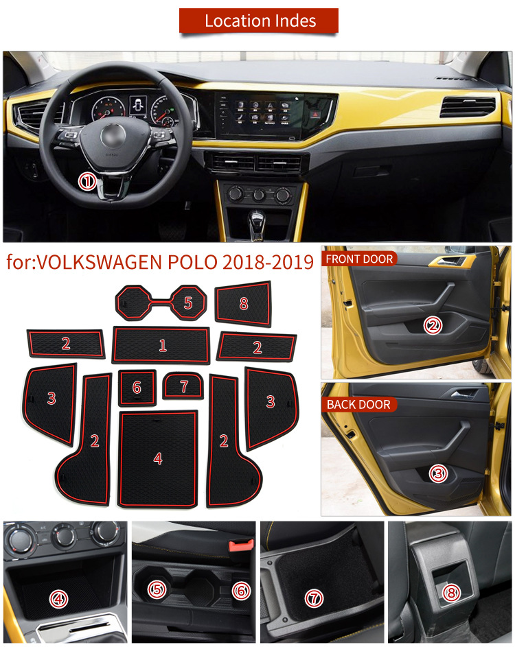 for VW POLO MK6 2018 2019 For Volkswagen <font><b>Car</b></font> Accessories Stickers Anti-Slip <font><b>Mat</b></font> for Phone Gate Slot <font><b>Mats</b></font> Cup <font><b>Rubber</b></font> Pads Rug image
