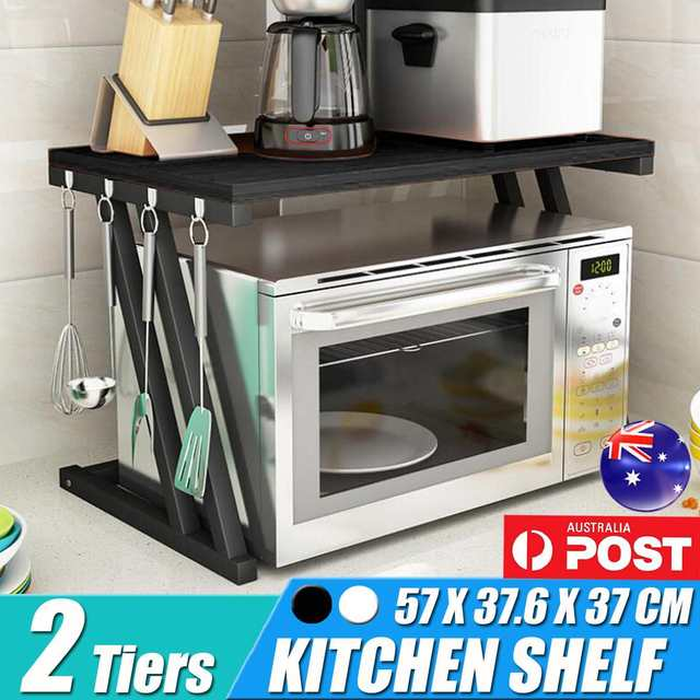 2-Tiers Kitchen Microwave Oven Rack Kitchen Shelf With Drawer Home Storage Rack Counter Shelf Organizer Tableware Space Saver