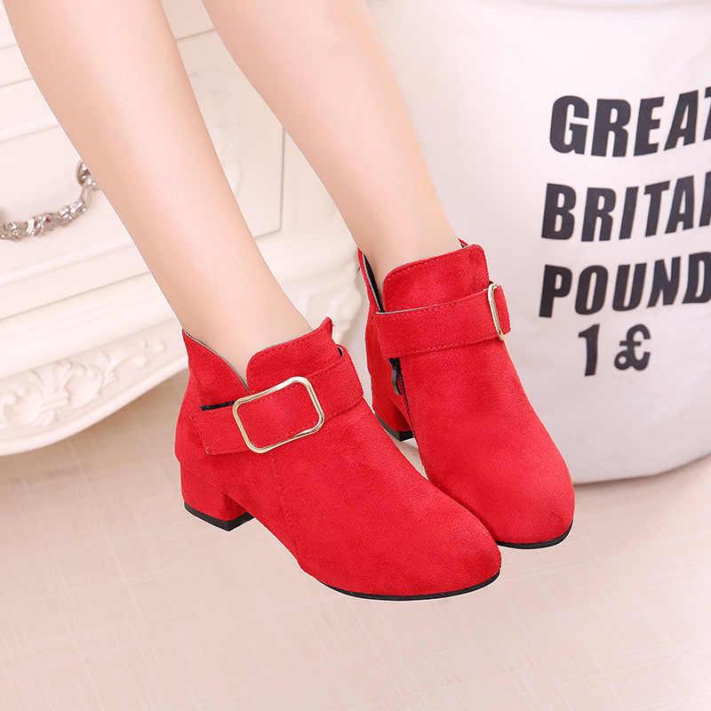 Kızlar Martin çizmeler ayakkabı ilkbahar sonbahar akın deri çocuk botları moda çocuk çizmeleri sıcak kış çizmeler Botas yüksek topuklu toka