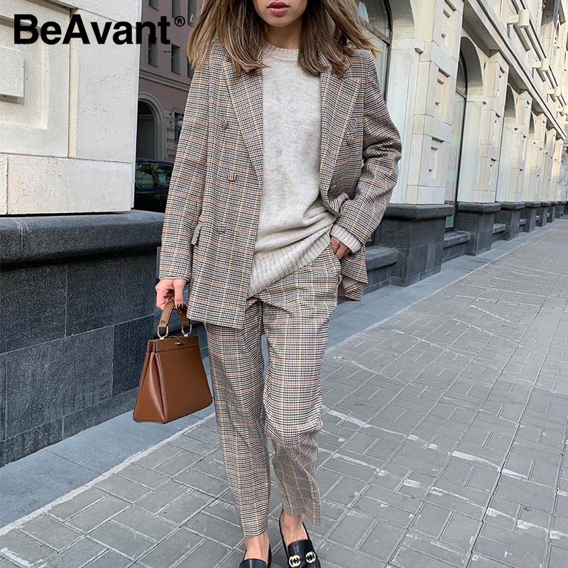 BeAvant Classic Plaid Casual Women Blazer Suits Double Breasted Fashion Blazers Coat Pants Sets Female Long Sleeve Office Jacket
