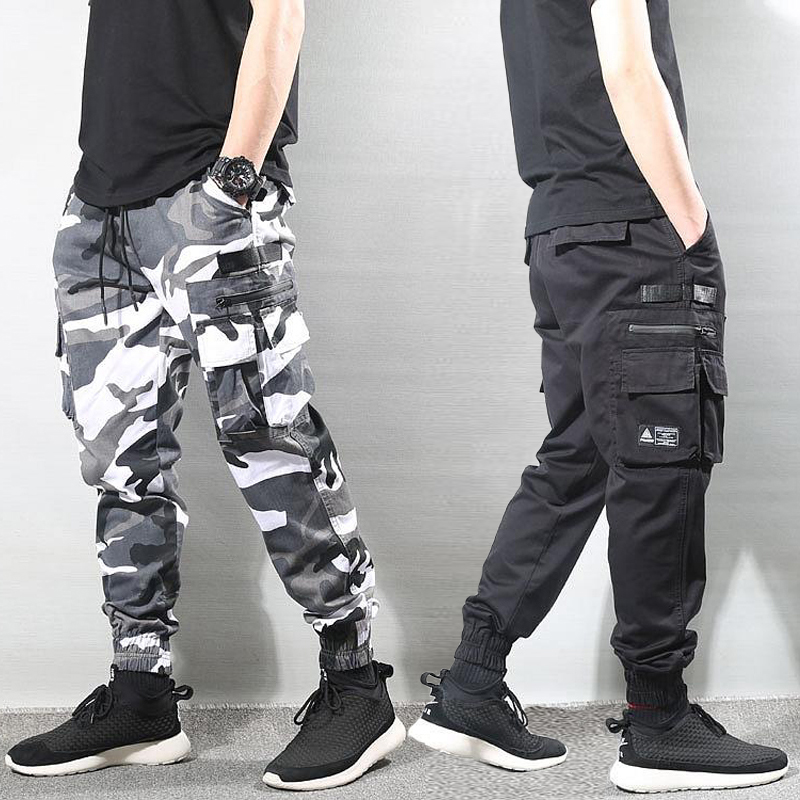Fashion Streetwear Men Jeans Loose Multi Pockets Cargo Pants Camouflage Military Trousers Slack Bottom Hip Hop Joggers Pants Men