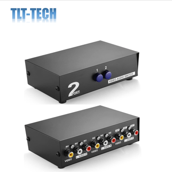 AV Switch Box Switcher Selector (2 Input 1 Output) - 2 Way Port Stereo RCA Audio and Composite Video Selector Switch Box 3 files 2 knives band switch top three audio inputs switch