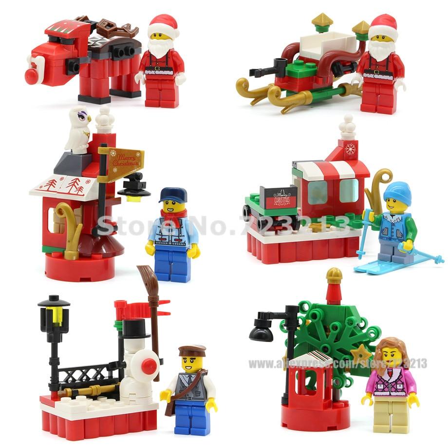 Christmas Street Santa Claus Girl Postman Figure Single Sale Sled Station Owl Model Building Blocks Model Toys For Children