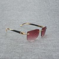 Natural Wood Sunglasses Men Black Buffalo Horn Rimless Eyeglasses Women Accessorie Metal Frame Oculos Square Gafas for Club