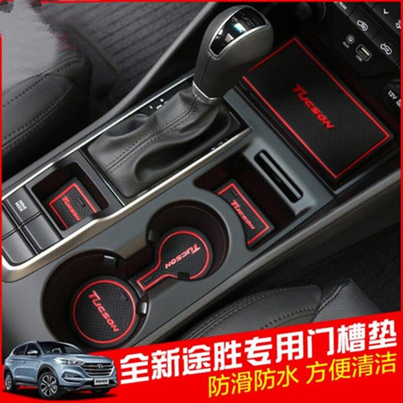 22PCS Rubber Interior Door Groove Mat Cup Mat Non-Slip For Hyundai Tucson 2015 2016 2017 2018 Accessories