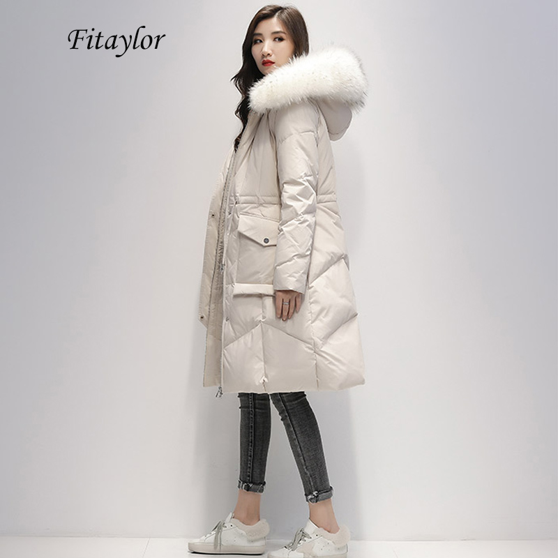 Fitaylor Winter Long Duck Down Jacket Women Hooded White Duck Down Parka Thick Warm Large Artificial Raccoon Fur Collar Overcoat