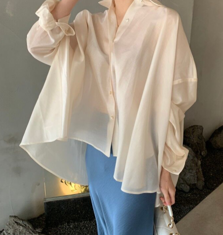 Women Casual loose Oversize blouses shirts New  female  Turn-down spring Blouse T192