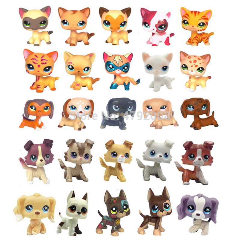 Rare Pet Shop Lps Toy Standing Short Hair Cat Dog Dachshund Collie Cocker Spaniel Great Dane Old Original Child Gifts