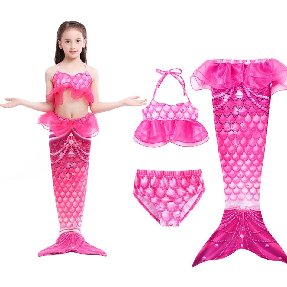 Girl Ariel Dress Up Mermaid Tail Swimming Costume Suit Kids Summer Swimsuit Bikinis Children Beach Pool Party Costume 3-12 Years