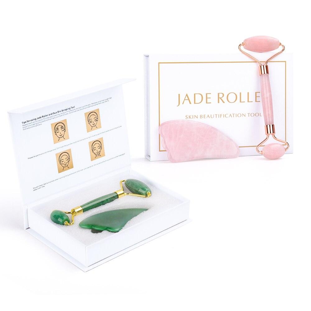 Portable Face Eyes Lift Massager Firm Skin Roller Facial Massage Jade Roller Natural Rose Quartz Stone Skin Care Tool Gift Box