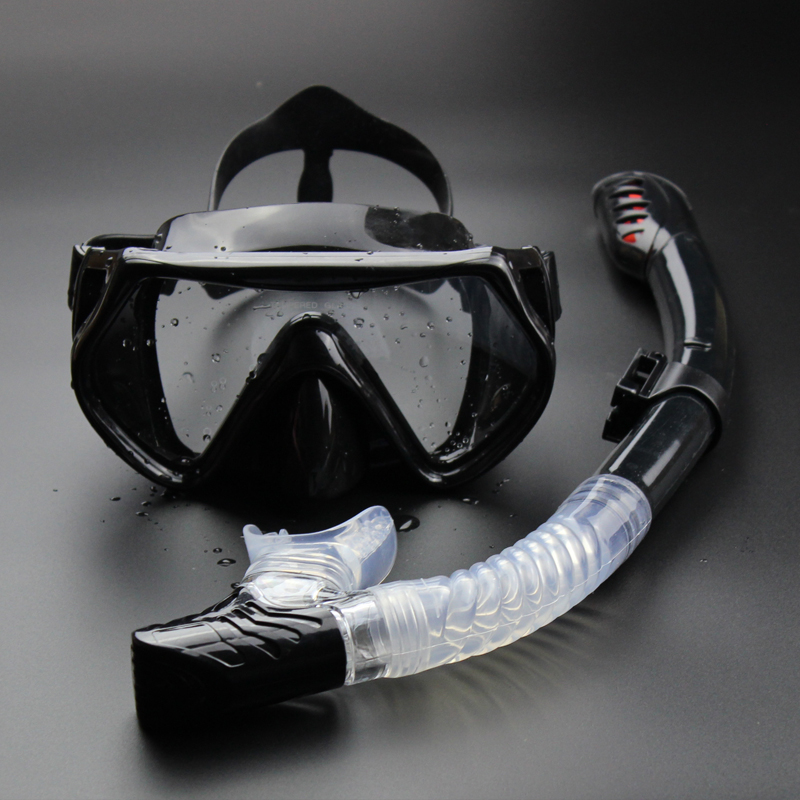 Дайвинг плавание маска подводный Анти-туман Подводное полное сухое трубка набор низкий объем Freediving взрослые очки Подводная охота