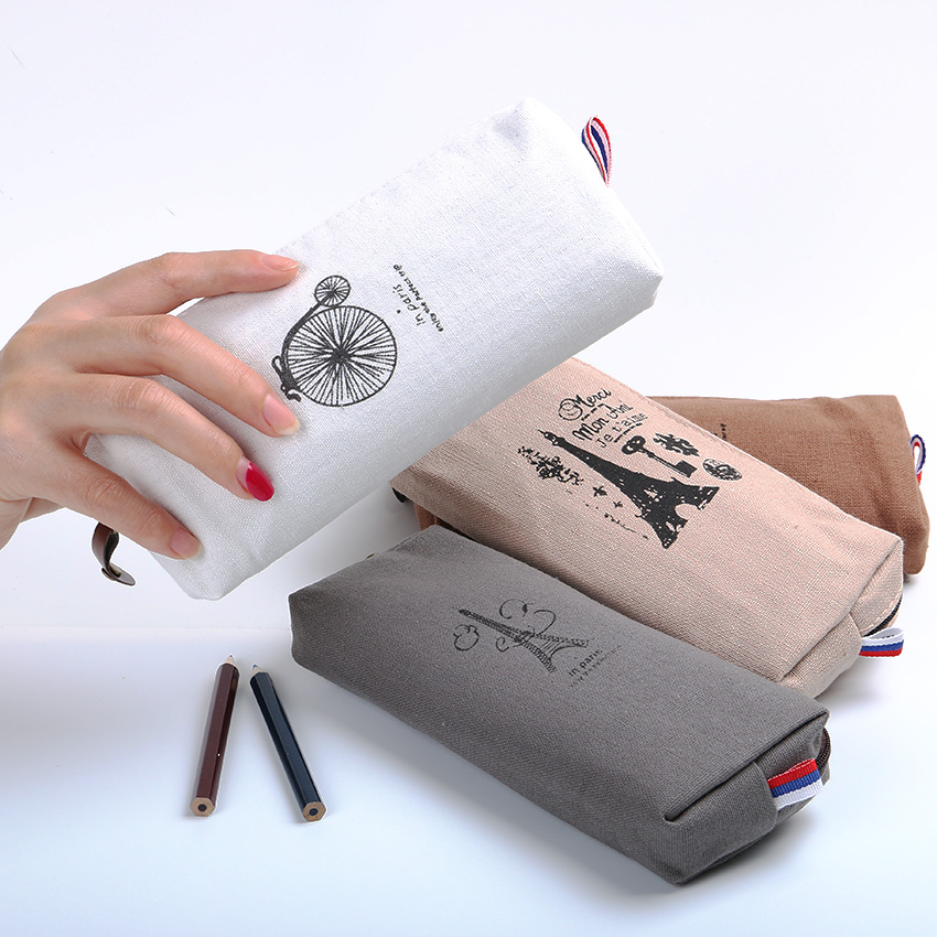 Retro Towers Linen Pencil Bag Students Paris Style Pencil Cases Stationery Material Escolar Office Supplies New Arrival 1 PC