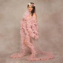 Sleepwear Nightgowns Long-Sleeves Party Ruffles Robes Bridal See-Through Custom-Made