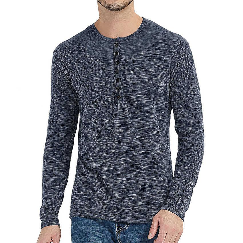 Mężczyźni Fit Henry kołnierz T koszula z długim rękawem stylowe męskie Tee koszula moda męska topy odzież Streetwear jesień nowy Tshirt