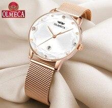 Zegarki sportowe damskie OLMECA luksusowa marka zegarek sukienka Reloj Mujer wodoodporny zegarek na rękę zegarek Milanese pasek do zegarka w formie bransolety