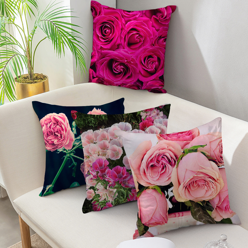 fuwatacchi flower painting cushion covers sundial floral decorative pillows rose throw pillows decorative pillows