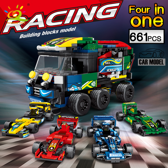 HUIQIBAO 661pcs 4in1 City Speed Champion Racing Car Building Blocks 4 Sport Super Racer Figures educational Bricks Children toys