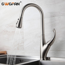 Kitchen Faucets Silver Single Handle Pull Out Kitchen Tap Single Hole Handle Swivel 360 Degree Water Mixer Tap Mixer Tap N22-205 kitchen faucets brass kitchen sink water faucet 360 rotate swivel faucet mixer single holder single hole white mixer tap n22 024
