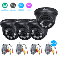 OWSOO 4*720P AHD Dome IR CCTV Camera + 4*60ft Surveillance Cable Support IR CUT Night Vision 6pcs Array Infrared Lamps