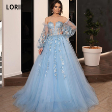 LORIE Light Blue Evening Dresses Long 2020 Sweetheart Tulle Princess Graduation Formal Prom Party Gowns Lacing Plus Size