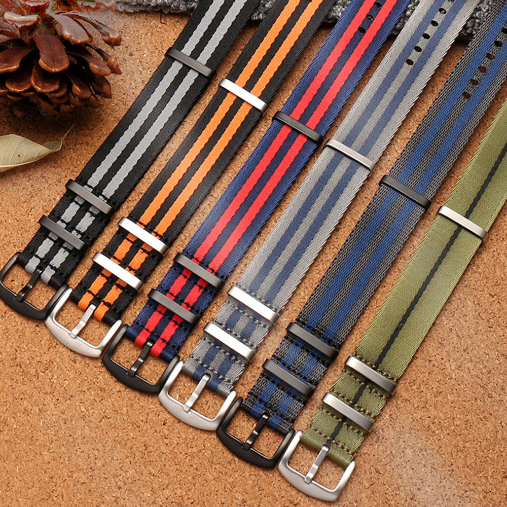 20mm 22mm Nylon Fabric Parachute Military Watch Band Strap High Quality NATO Sport Watchband Bracelet Belt For 007 James Bond