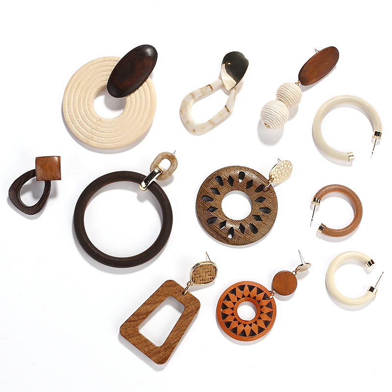 AENSOA Multiple New Design Handmade African Wooden Earrings For Women Vintage Drop Earring 2019 Female Fashion Ethnic Jewelry