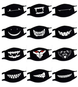 Big Size Expression Mouth Mask Cotton Black Mouth Mask Unisex Mask Mouth-muffle Dustproof Respirator Cute Anti-Dust Mouth Covers