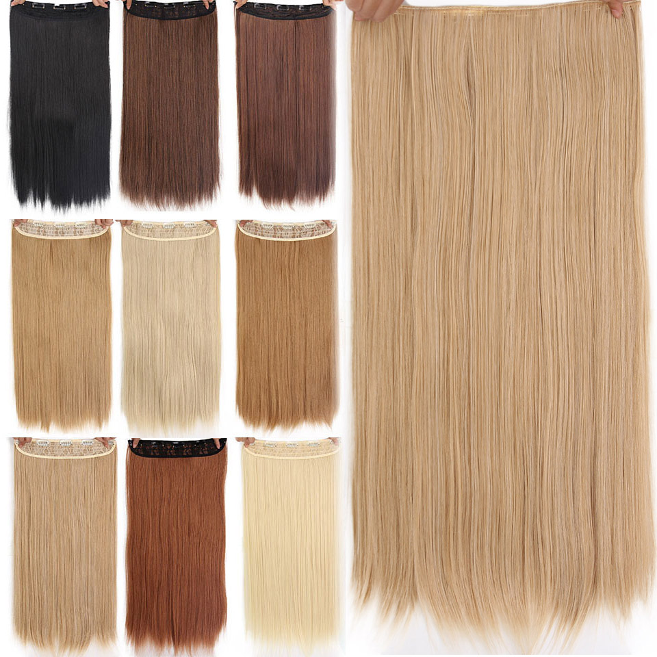 AISI BEAUTY 5 Clips Synthetic Hair Long Straight Blonde Clip In Hair Extensions False Hair Brown Black Hair Pieces For Women