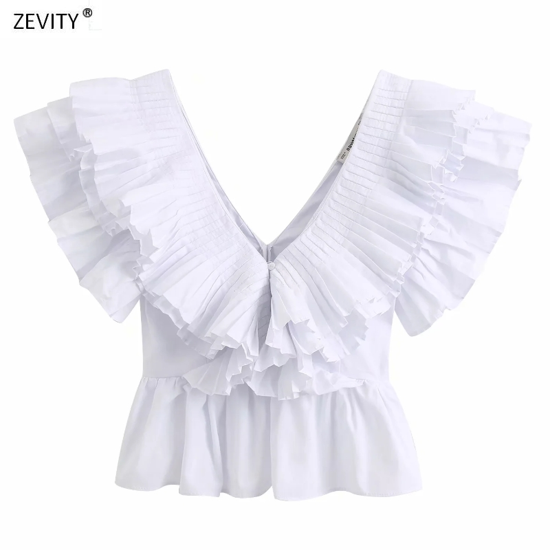 New Women Solid V Neck Pleated Ruffles Casual White Smock Blouse Ladies Chic Butterfly Sleeve Poplin Femininas Shirt Tops LS6380