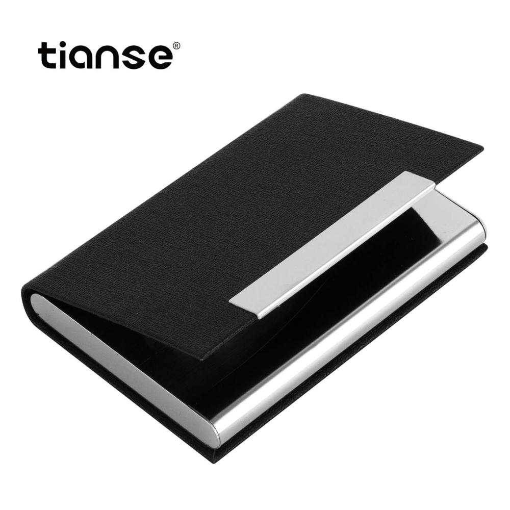 TIANSE PU Leather Luxury Brand Pocket Stainless Steel ID Credit Card Wallet Business Card Holder Case Silver Aluminium Case