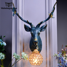 American  Retro Art Lucrative Deer Horn Wall Lamp Modern Home Decor E27 Wall Light Industrial lamp Wall Sconce Lamp Room Lamp