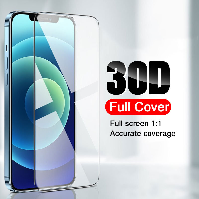 Vidro de proteção 30d para iphone 11 12 pro xs max xr se 2020 8 7 6s plus protetor de tela vidro temperado para iphone 12 x vidro