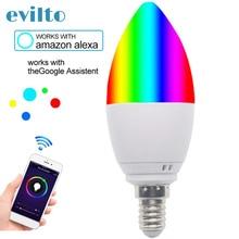 E14/E27 Wifi Smart Candle Bulb Led Compatible Alexa Voice Contril Smart RGB+WW+CW Light Bulb Home Voice Control Light