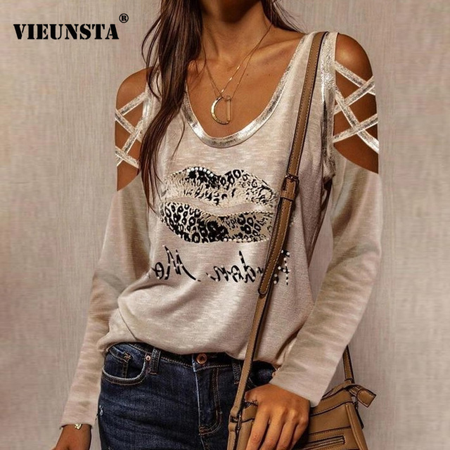 Women New Off Shoulder Lips Printed Blouse 2021 Spring Criss-cross Long Sleeve Shirt Sexy V-neck Hollow Out Top Streetwear Blusa 1