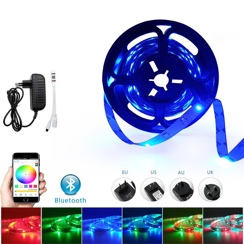 5//10//20M 5050 3528 SMD RGB WiFi LED Strip Lights Bluetooth Controller 300LED UK