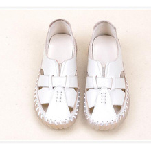 Summer Brown Flat Sandals Women Genuine Leather Boat Shoes Comfortable Casual Flats Female White Loafer Shoes Fashion Sandals beyarne summer sandals female handmade genuine leather women casual comfortable woman shoes sandals women summer shoes