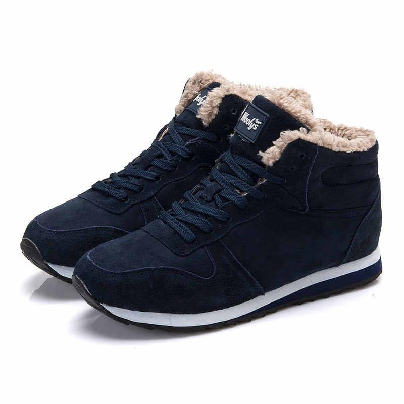 Erkek botları artı boyutu 35-47 severler kış Sneakers erkek kar botları Chaussure Homme rahat yarım çizmeler kış ayakkabı erkek siyah
