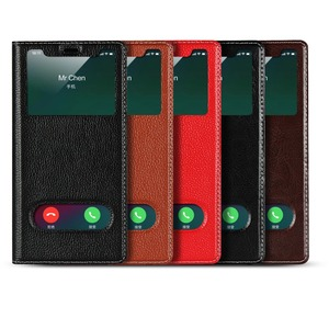 Image 2 - Genuine Leather Case For Apple iPhone 5 Se 6s 7 8 Plus iPhone X XR XS Max Vision Window Phone Cases Flip Case Leather Cover
