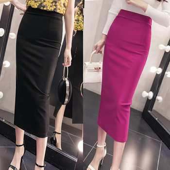 2021 summer new women's stretch slim temperament bag hip skirt ladies Knee-Length  Casual  Polyester  Solid 1